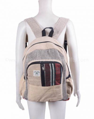 Comfortable eco-friendly natural Nepalese hemp and cotton bag and backpack HBBH 0095