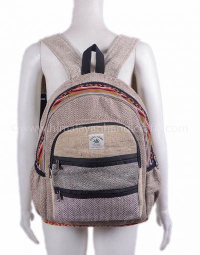 Nepalese hemp and cotton canvas medium bag and backpack HBBH 0096