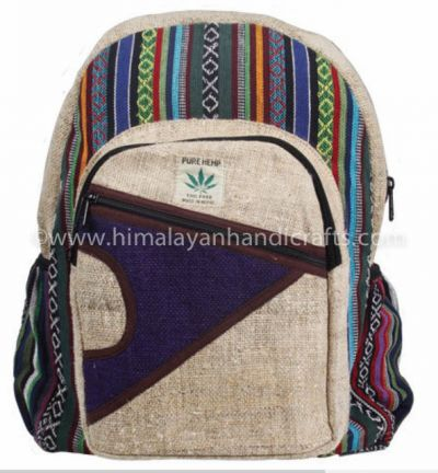 Nepalese Organic Hemp Cotton canvas Aztec pattern  school travelling bag and backpack HBBH 0042