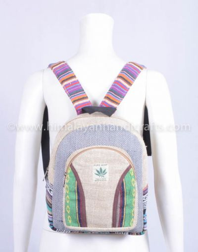 Large organic hemp backpack with 100% Natural THC free eco friendly Backpack HBBH 0068