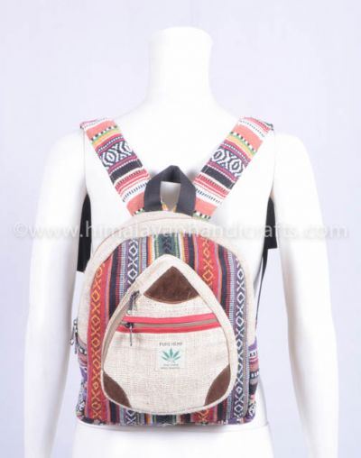 Latest designing  Multi pocket and Aztec pattern  High qualities Pure hemp backpack HBBH 0073