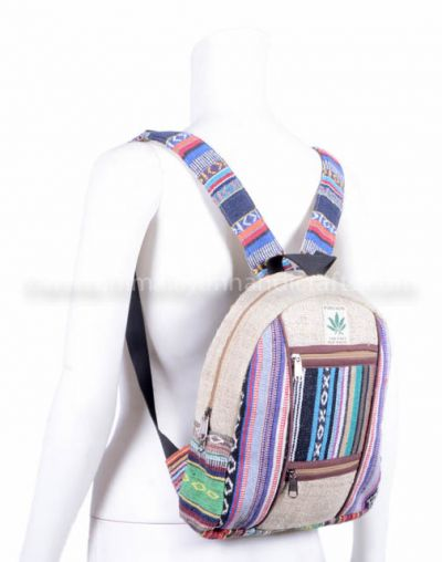 Natural small  Aztec pattern and hemp back pack for kids and teenagers HBBH 0074